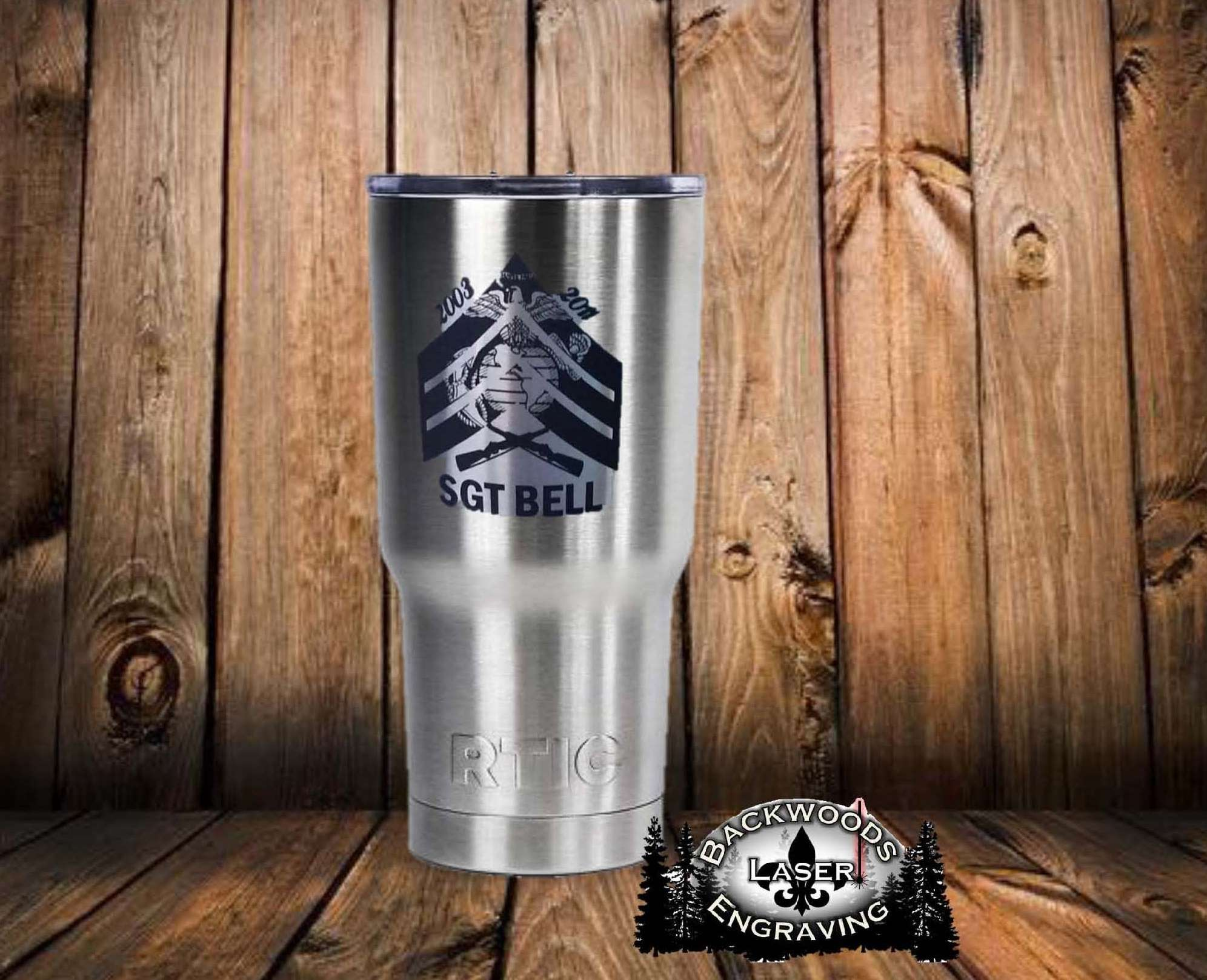 Custom Engraved Rtic 20 Oz Tumbler Backwoods Laser